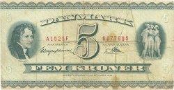5 Kroner DANEMARK  1952 P.042a B+