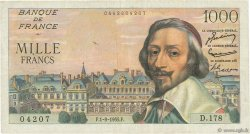 1000 Francs RICHELIEU FRANCE  1955 F.42.15 pr.TTB