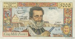 5000 Francs HENRI IV FRANCE  1957 F.49.02 pr.TTB