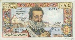 5000 Francs HENRI IV FRANCE  1957 F.49.03 TB+