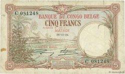 5 Francs CONGO BELGE  1924 P.08c B à TB