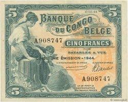 5 Francs CONGO BELGE  1944 P.13Ac SUP