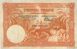 20 Francs CONGO BELGE  1942 P.15B TB