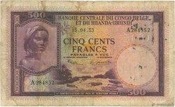 500 Francs CONGO BELGE  1953 P.28a B+