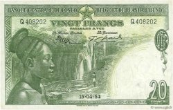 20 Francs CONGO BELGE  1954 P.26 TTB