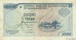 1000 Francs CONGO BELGE  1958 P.35 TTB