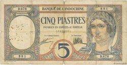 5 Piastres INDOCHINE FRANÇAISE  1927 P.049b B