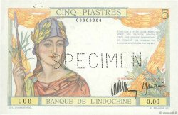 5 Piastres INDOCHINE FRANÇAISE  1932 P.053s SUP+