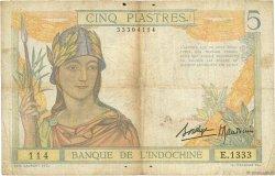 5 Piastres INDOCHINE FRANÇAISE  1936 P.055b B+