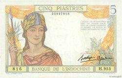 5 Piastres INDOCHINE FRANÇAISE  1936 P.055b pr.NEUF