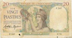 20 Piastres INDOCHINE FRANÇAISE  1936 P.056b TB