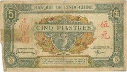 5 Piastres vert / marron INDOCHINE FRANÇAISE  1942 P.061 B