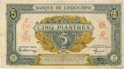 5 Piastres INDOCHINE FRANÇAISE  1942 P.062a TB