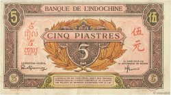 5 Piastres rose, violet INDOCHINE FRANÇAISE  1942 P.064 TTB+