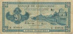 20 Piastres bleu INDOCHINE FRANÇAISE  1942 P.065 TB