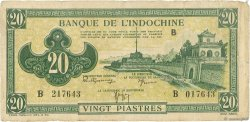 20 Piastres vert FRENCH INDOCHINA  1942 P.070 VG