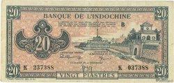 20 Piastres rose orangé INDOCHINE FRANÇAISE  1942 P.072 TB+