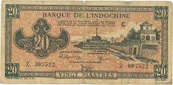 20 Piastres rose orangé INDOCHINE FRANÇAISE  1942 P.072 B