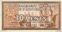 10 Cents INDOCHINE FRANÇAISE  1939 P.085d TTB