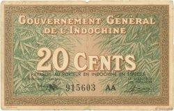 20 Cents INDOCHINE FRANÇAISE  1939 P.086c TB