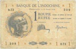 1 Roupie - 1 Rupee INDE FRANÇAISE  1936 P.004d pr.TB