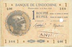 1 Roupie - 1 Rupee INDE FRANÇAISE  1938 P.004d TTB