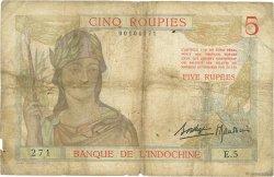 5 Roupies - 5 Rupees INDE FRANÇAISE  1937 P.005a B