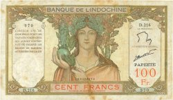 100 Francs TAHITI  1961 P.14d TB