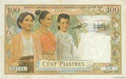 100 Piastres - 100 Riels INDOCHINE FRANÇAISE  1954 P.097 TTB