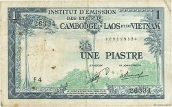 1 Piastre - 1 Kip INDOCHINE FRANÇAISE  1954 P.100 TB