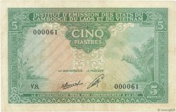 5 Piastres - 5 Kip INDOCHINE FRANÇAISE  1953 P.101 TB