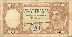 20 Francs DJIBOUTI  1936 P.07a B+