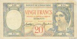 20 Francs DJIBOUTI  1941 P.07A TTB