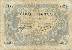 5 Francs type 1873 ALGÉRIE  1925 P.071b TB