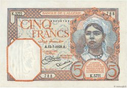 5 Francs type 1924 ALGÉRIE  1929 P.077a SUP
