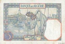 5 Francs type 1924 numérotation inversée ALGÉRIE  1941 P.077b SUP