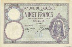 20 Francs type 1912 ALGÉRIE  1932 P.078b TTB