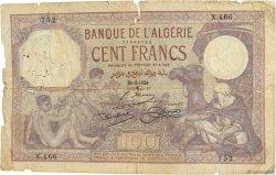 100 Francs type 1920 ALGÉRIE  1924 P.081a B