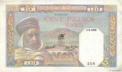 100 Francs type 1938 filigrane tête ALGÉRIE  1940 P.085 SUP