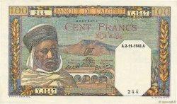 100 Francs type 1938 filigrane tête ALGÉRIE  1942 P.088 pr.SPL
