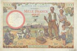 1000 Francs ALGÉRIE  1942 P.086 TTB