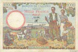 1000 Francs type 1940 filigrane lettres ALGÉRIE  1942 P.089 TTB