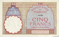 5 Francs MAROC  1922 P.23Aa SPL