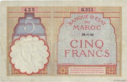 5 Francs 1922 modifié MAROC  1941 P.23Ab TTB