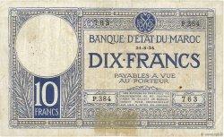 10 Francs 1920 2e type MAROC  1924 P.11b TB