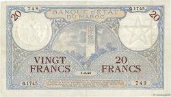 20 Francs 1920 modifié 1941 MAROC  1945 P.18b TTB+