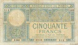 50 Francs MAROC  1932 P.19 TB