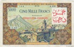 50 Dirhams sur 5000 Francs MAROC  1953 P.51 TTB