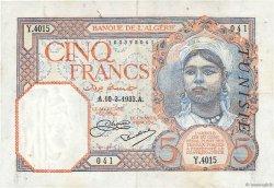 5 Francs TUNISIE  1933 P.08b pr.SUP