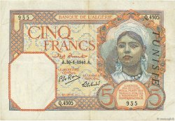 5 Francs type 1924 TUNISIE  1941 P.08b TTB
